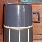 1 Pint Charcoal Gray Plaid Thermos *Complete*
