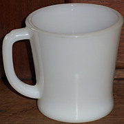 (B) White Fire King D-Handle Coffee Mug(s)
