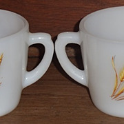 (B) Fire King Wheat Cream and Sugar Set w/Advertising **Rare**