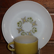 (A/B)  Fire King Meadow Green Salad Plate/Cup Set(s) *Unused*