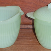 Fire King Jade-ite Cream/Sugar/Lid Set