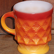 (B) Fire King Red Orange Kimberly Mug(s)