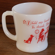 Fire King Red Prayer Mug