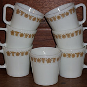 Set/3 Pyrex Butterfly Gold Coffee Mugs