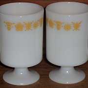 Set/2 Butterfly Gold Pedestal Coffee Mugs