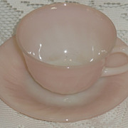 (B) Fire King Pink Swirl Cup/Saucer Set   **As Is**