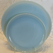 (B) Lot/2  Fire King Turquoise Blue Plates