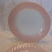 (B) Set/2 Fire King Pink Swirl Dinner Plates