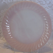 (B) Fire King Pink Swirl 11 Inch Serving Plate