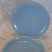 (B) Fire King Set/4 Turquoise Saucers
