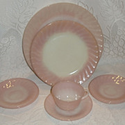 (B) Set/4 Fire King Pink Swirl Saucers