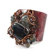 "Bloodstone cuff bracelet - HUGE Forged copper, wire wrapped stones ""Boho Rustic Rocker"""