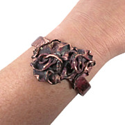 Brutalist Copper Cuff Bracelet - Forged Copper & Fused - Unisex - InVintageHeaven