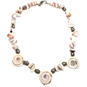 Carved Shiva Shell sterling silver necklace - Beaded Bali beads - Bohemian Beach Style - InVin