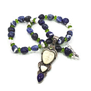 Goddess Blue Lapis & Sodalite Necklace - Sterling Silver - Beaded Unique Pendant - InVintageHe