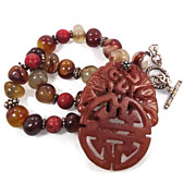 Carved Orange Jade Pendant & Stone Necklace - Big Statement - Agate & Coral - InVintageHeaven