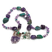Mermaid Amethyst & Turquoise Necklace - Beaded Stone - Amethyst Druzy Slice - InVintageHeaven