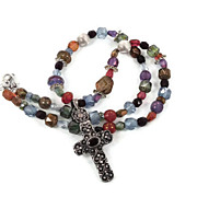 Garnet Cross Sterling Silver Necklace - Vintage pendant - Beaded Jewel Tones - Bohemian Style 