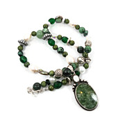 Jasper & Cat's Eye Necklace - Sterling silver - Beaded Pearls, Stone - InVintageHeaven