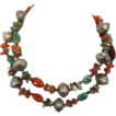 Adventurine Beaded Necklace - Vintage Ethnic - Red & Green Stone - Boho ethnic tribal - InVintageHeaven