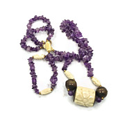 Amethyst & Carved Ox Bone Necklace - Vintage Designer Sandra David - InVintageHeaven