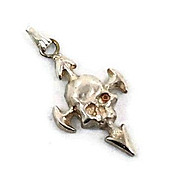 SALE Vintage Skull pendant - Sterling silver Gothic biker Skeleton with arrows charm - InVinta