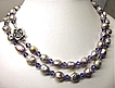 Large  Lavender-Purple Bead Nucleated Freshwater  Pearls Long Necklace