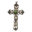 Large Ornate Cross Pendant with Jade Cabochon � Vintage Creed Sterling