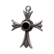 Lovely Sterling Floriated Cross with Onyx Inset � Hallmarked