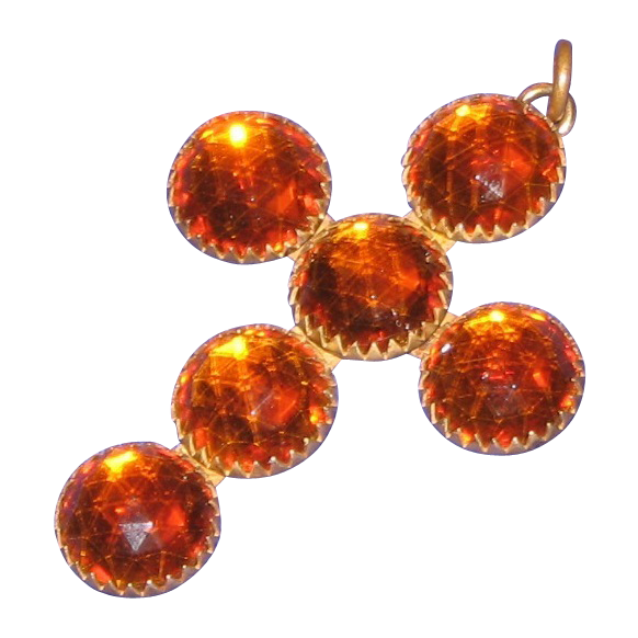 Dazzling 1910s Amber Glass & Gilt Cross
