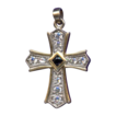 Elegant Sterling Vermeil & CZ Cross Pendant � Genuine Sapphire Center