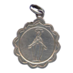 Folk Art Stamped Silver Medal of Our Lady � Scalloped Edge - Hallmarked