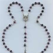 Purple, Pink & Black Art Glass Rosary � Marked Chapel Italy