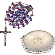 Sparkling Blue Glass Rosary from St. Anne de Beaupre Basilica with Matching Pouch  42 Grams