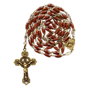 Brilliant Goldstone / Aventurine Glass & Gilded Brass Rosary � Fancy Spacers � Hallmarked