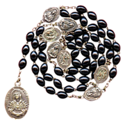 Silky Black Wood Servite Rosary of the Seven Sorrows of Mary � Italy