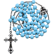 Fabulous French Art Nouveau Silver & Opaque Blue Glass Rosary � Black Patina