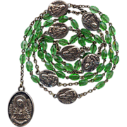 Vintage Grass-Green Seven Sorrows Servite Rosary  Large & Lovely Medals