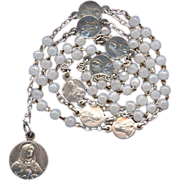 Glorious Luster Glass Seven Sorrows Rosary  Silver Karo Medals  Petite & Perfect