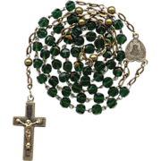 Delicate Victorian Pressed Glass & Brass German Rosary  Rare Forest Green Beads