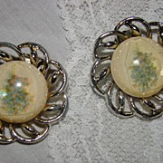 SOLD 1920's Porcelain Resin Coated Bouquet Image Earrings