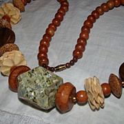 SALE Apple Barrel and Wooden Hand Created Necklace