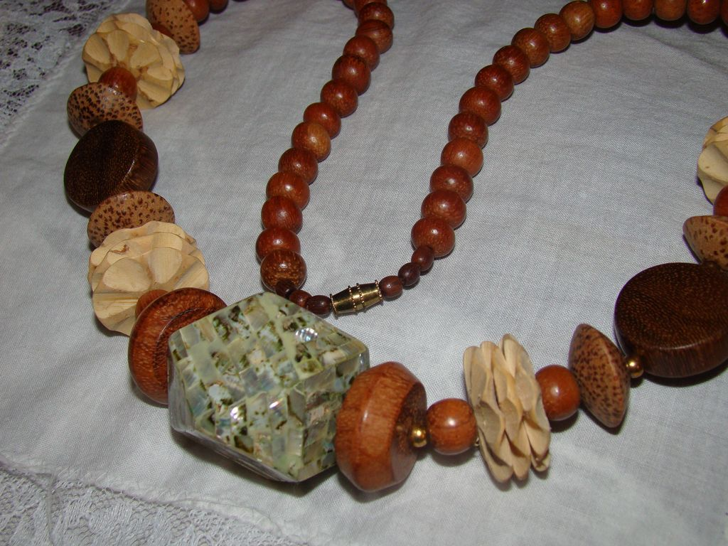 Apple Barrel and Wooden Hand Created Necklace