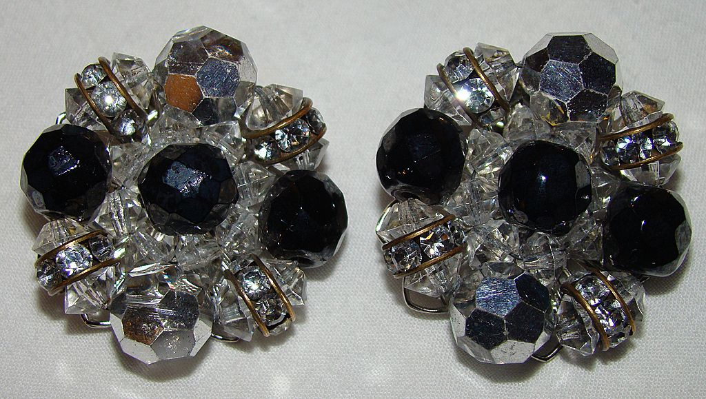 Clear and Black Crystal Earrings with Castor Spacer Beads