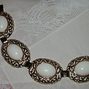 SALE Ornate Goldtone Link Bracelet with Large White Cabochon Set Stones
