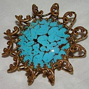 SALE Faux Turquoise and Goldstone Glass in Rolled Gold Ornate Setting - Brooch