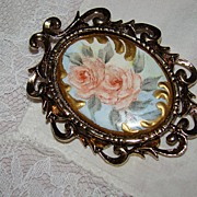 SALE Ornate Antiqued Goldtone Frame with Amazing Painted Roses Brooch