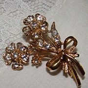 SALE Dainty Double Goldtone Flowers Filled with Rhinestone Brooch