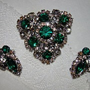 SALE Absolutely Incredible Emerald and Clear Rhinestone Brooch and Earring Set
