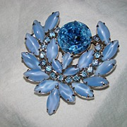 SALE Baby Blue Cat's Eye Navette Brooch with Huge Round Topaz Stone